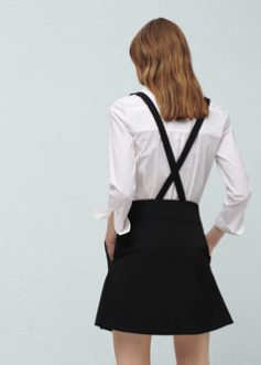 Mango black pinafore dress miniskirt braces SS16
