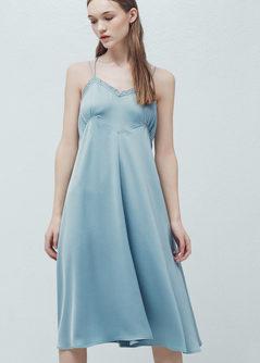 Mango blue negligee silk slip dress nightdress camisole dress