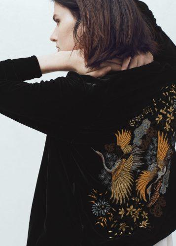 Black velvet embroidered bomber jacket